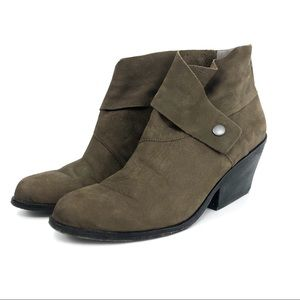 EILEEN FISHER Tag Suede Booties Green Brown 8.5